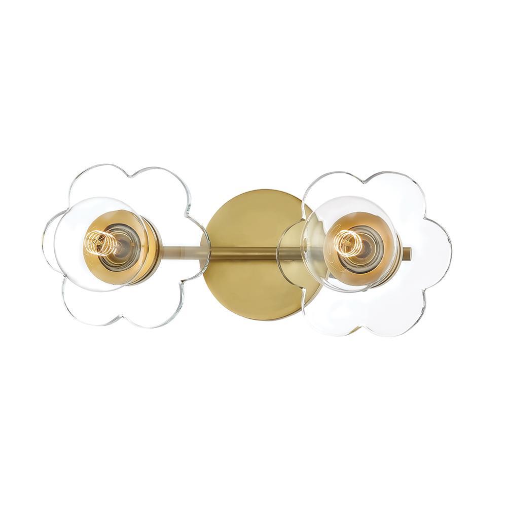 Alexa 2-Light Aged Brass Bath Light