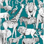 Jungle Animals Teal Paper Strippable Roll (Covers 56 sq. ft.)