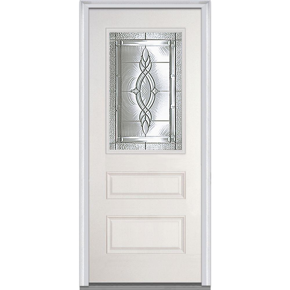 MMI Door 36 in. x 80 in. Brentwood Right-Hand 1/2 Lite Horizontal 2-Panel Classic Primed Fiberglass Smooth Prehung Front Door