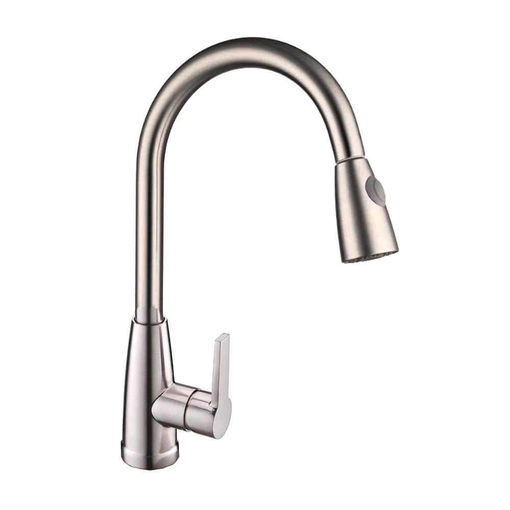 Vanity Art 8.27 in. Single-Handle Pull-Down Sprayer Kitchen Faucet in Brushed Nickel was $142.0 now $99.4 (30.0% off)
