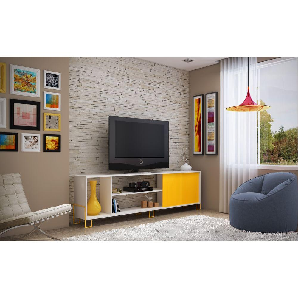 Manhattan Comfort Nacka 1 0 White And Yellow Storage Entertainment