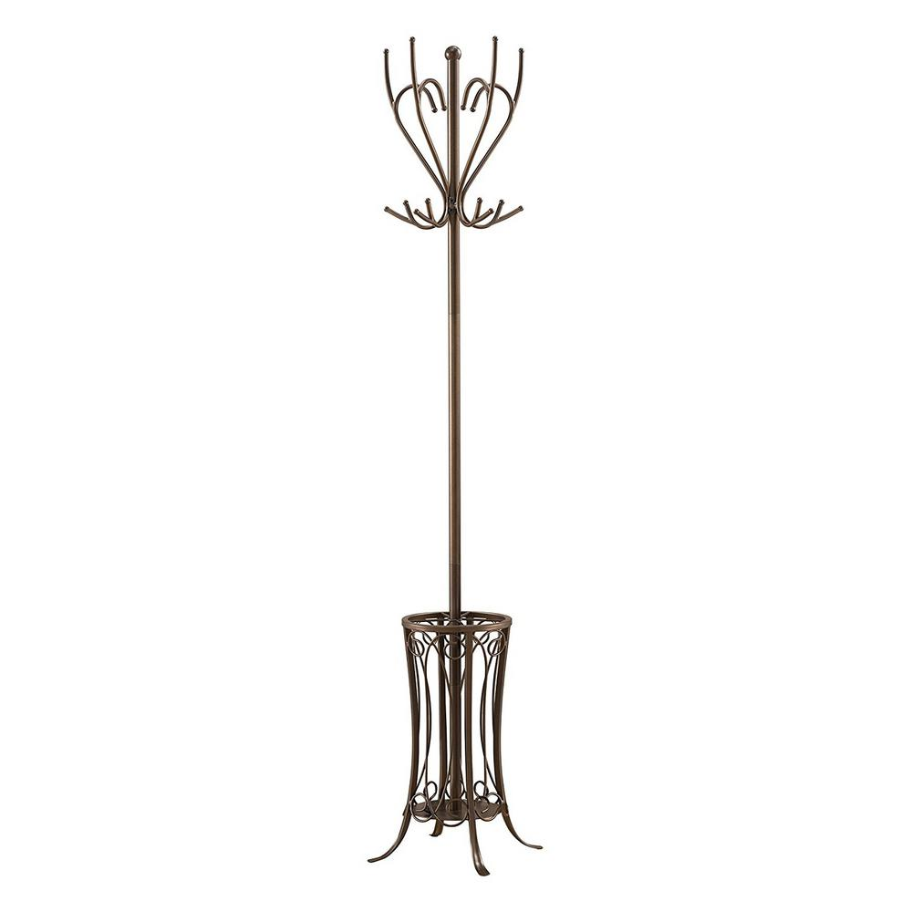Pewter Metal 12 Hook Coat Stand With Umbrella