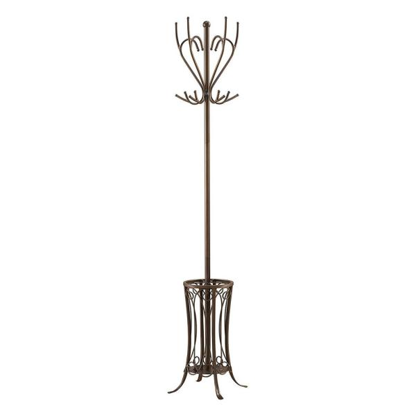 Kings Brand Furniture Pewter Metal 12-Hook Coat Stand with Umbrella Stand
