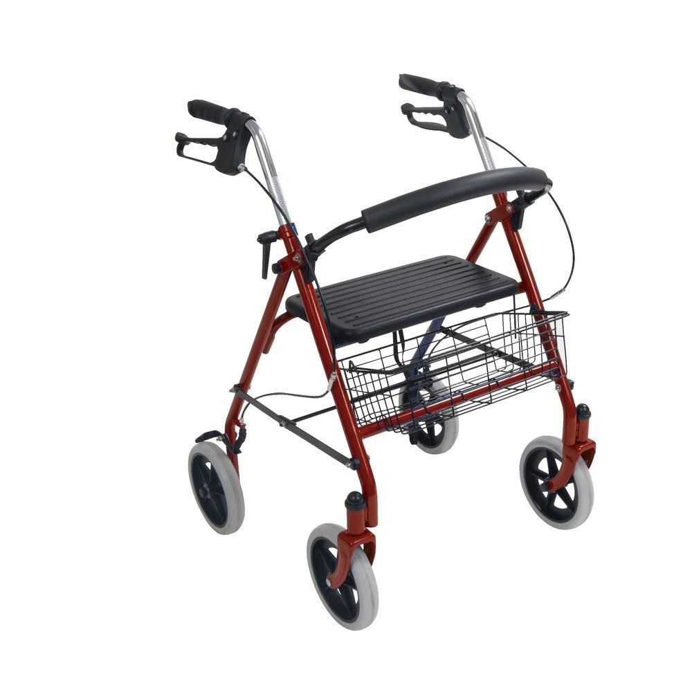 Drive 4-Wheel Rollator Walker with Fold Up Removable Back Support, Red