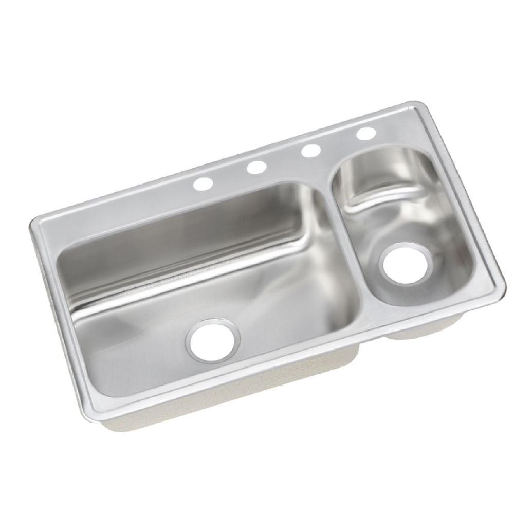 Elkay Dayton Drop-In Stainless Steel 33 in. 4-Hole Double Basin Kitchen Sink