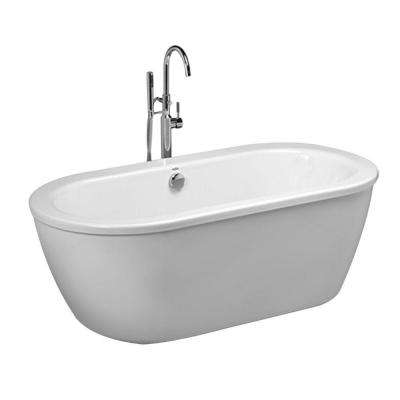 Cadet 5.5 ft. Acrylic Flatbottom Freestanding Bathtub in Artic White with Polished Chrome Drain and Filler