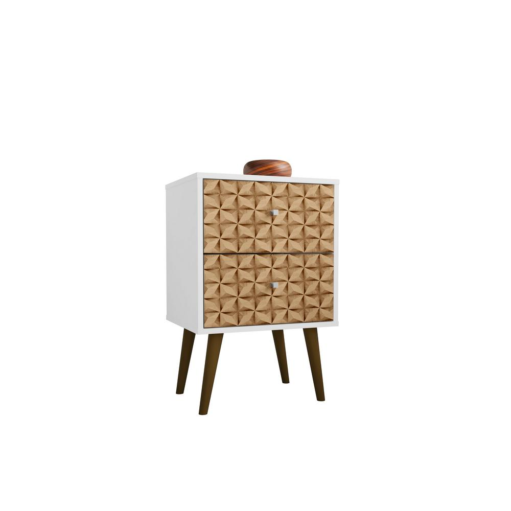 Liberty 2.0 White and 3D Brown Print Nightstand
