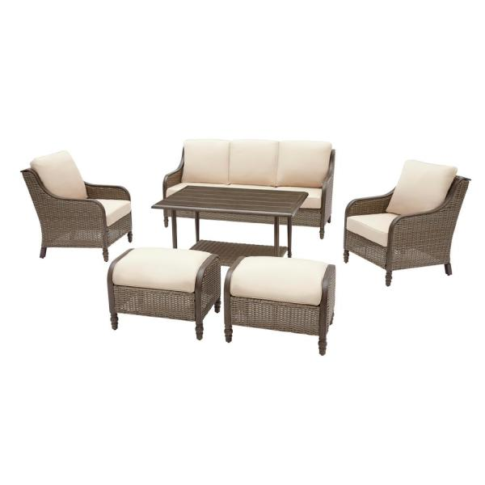 Windsor 6-Piece Wicker Patio Conversation Set with Beige Cushions