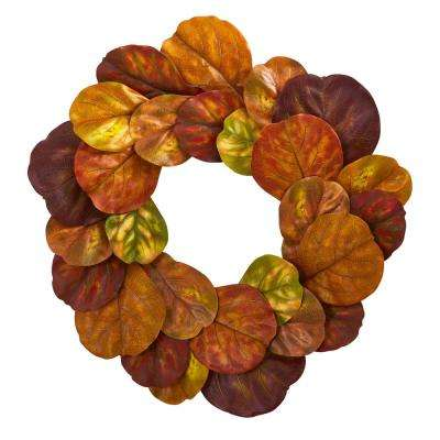 29 in. Unlit Artifical Holiday Wreath with Fiddle Leaf