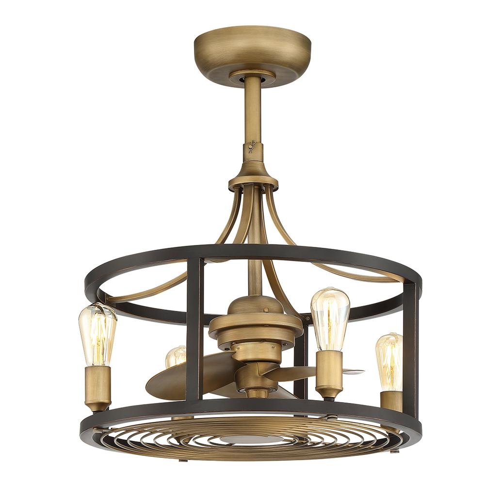 Home Decorators Collection Boswell Indoor/Outdoor 21.5 in Vintage Brass Dual Mount Ceiling Fan with Light Kit and Remote Control