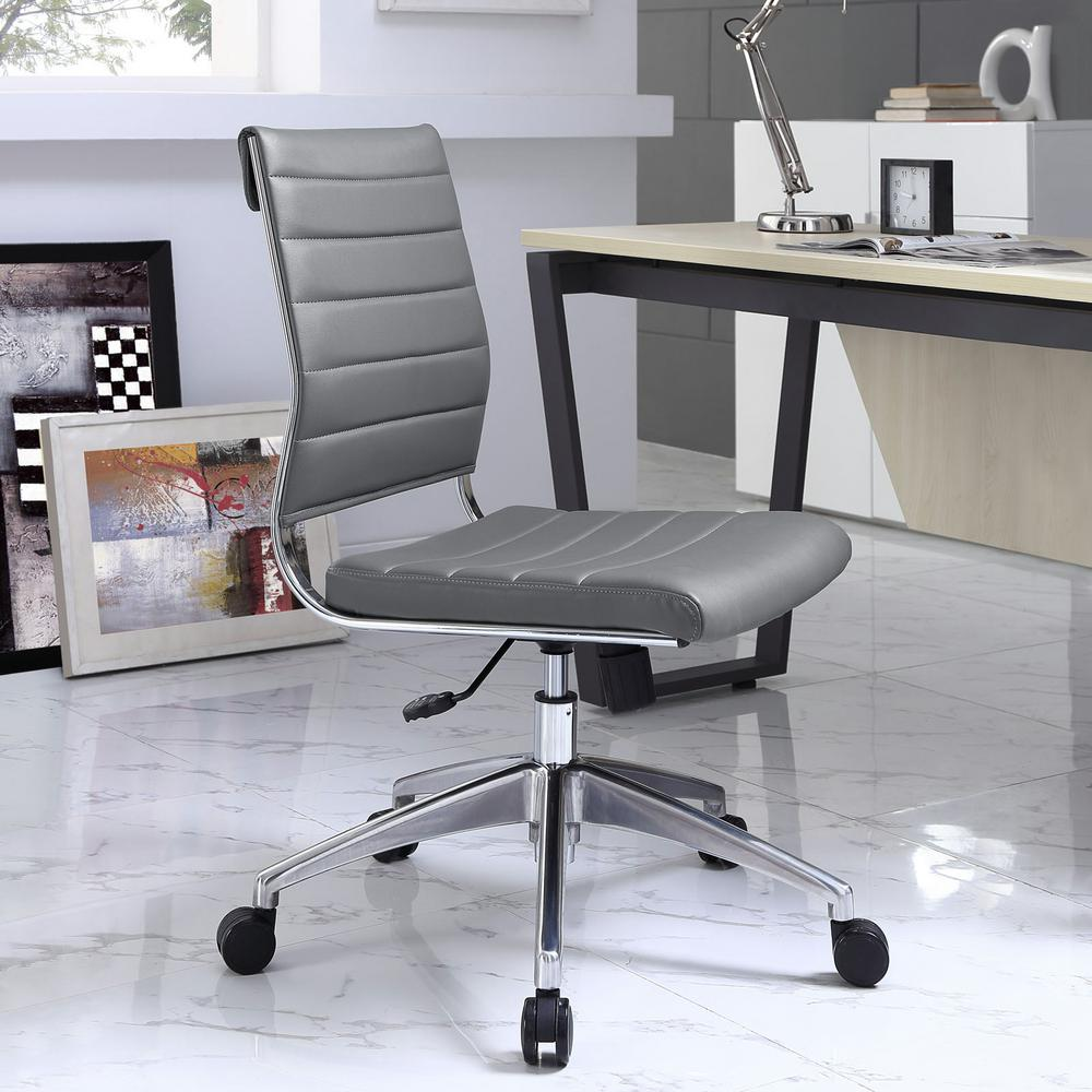 Modway Jive Armless Mid Back Office Chair In Gray