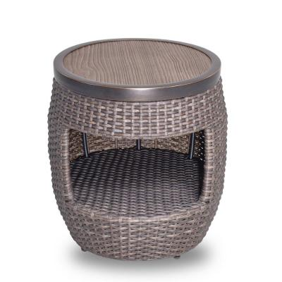 Brown 17.3 in. Dia x 20 in. H Round Wicker Outdoor Patio Garden Coffee Table with Storage