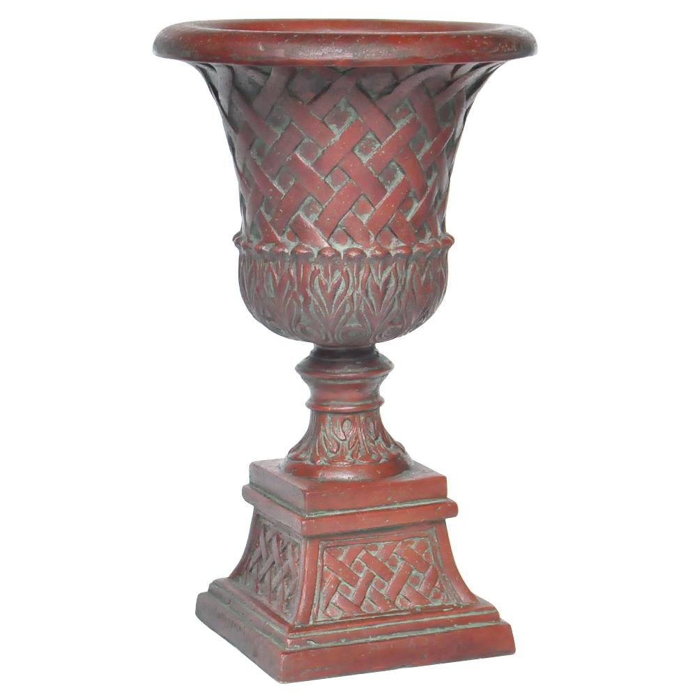 26.5 in. H. Patina Green Cast Stone Lattice Urn And Pedestal