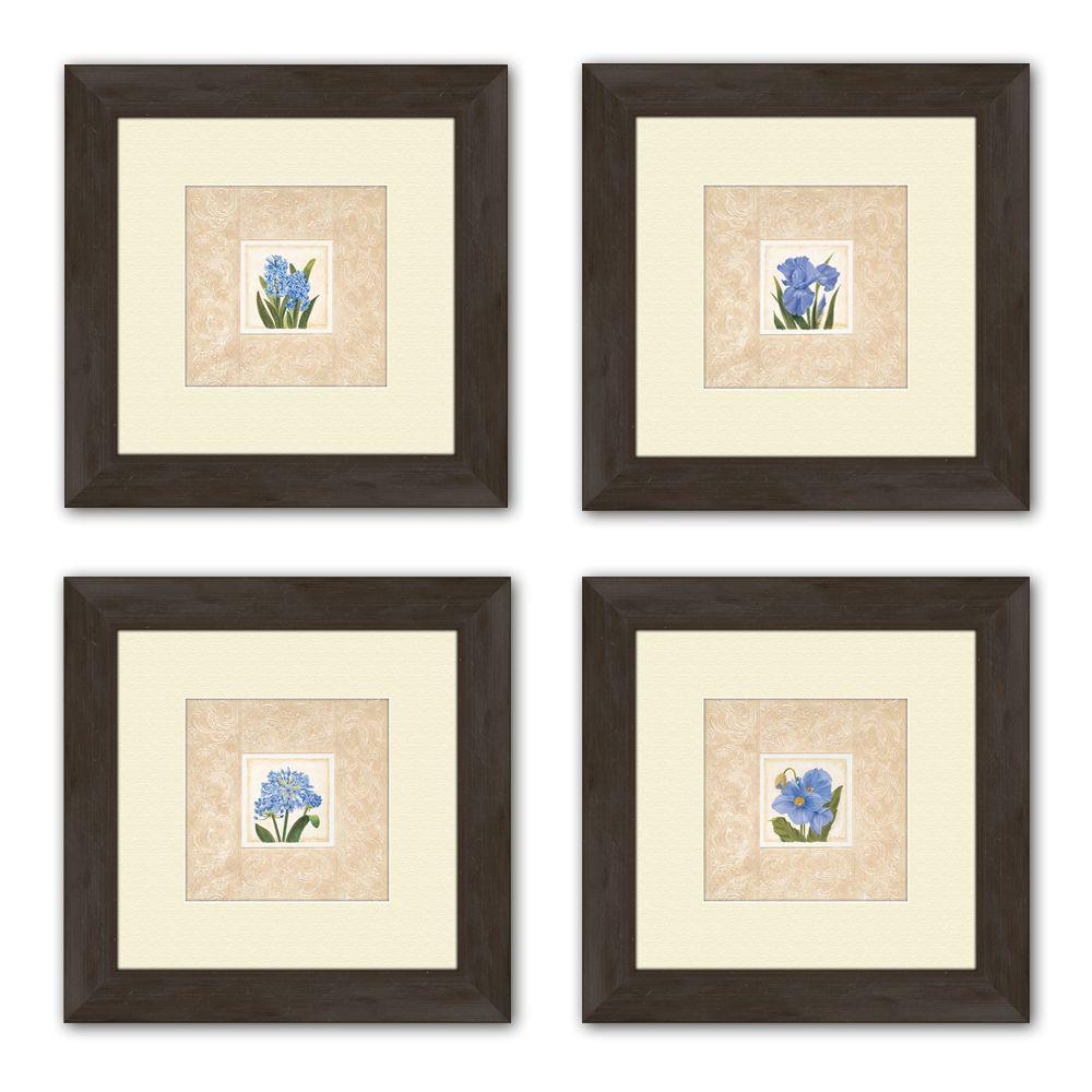 "PTM Images 13.5 in. x 13.5 in. ""Blue Set"" Matted Framed Wall Art (Set of 4)"