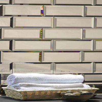 Echo 3 in. x 12 in. Gold Glass Mirror Peel and Stick Decorative Wall Tile Backsplash (4-Pack)