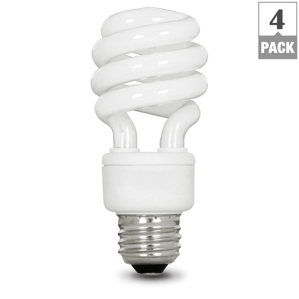 60W Equivalent Daylight (5000K) Spiral CFL Light Bulb (4-Pack)