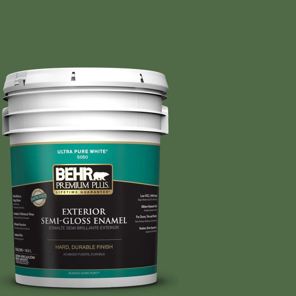 BEHR Premium Plus 5-gal. #M400-7 Garden Cucumber Semi-Gloss Enamel Exterior Paint