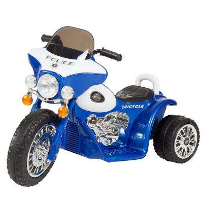 3-Wheel Battery Powered Ride on Toy Motorcycle Police Chopper in Blue