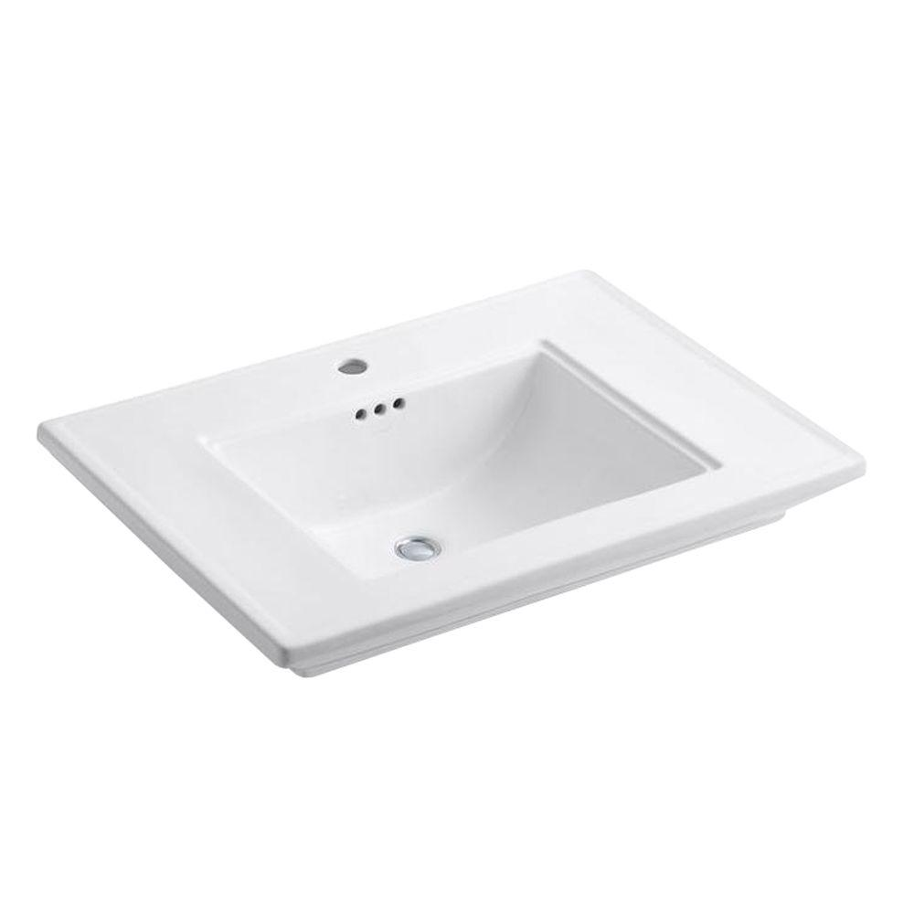 Memoirs 5 in. Ceramic Pedestal Sink Basin in White with Overflow