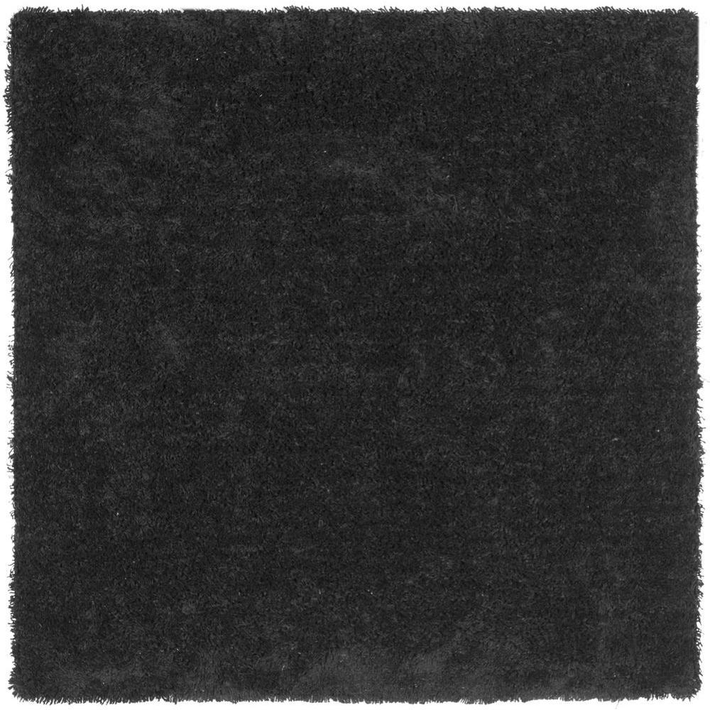 Classic Shag Ultra Black 7 ft. x 7 ft. Square Area