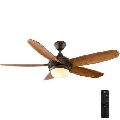 Breezmore 56 in. LED Indoor Mediterranean Bronze Ceiling Fan with Light Kit and Remote Control