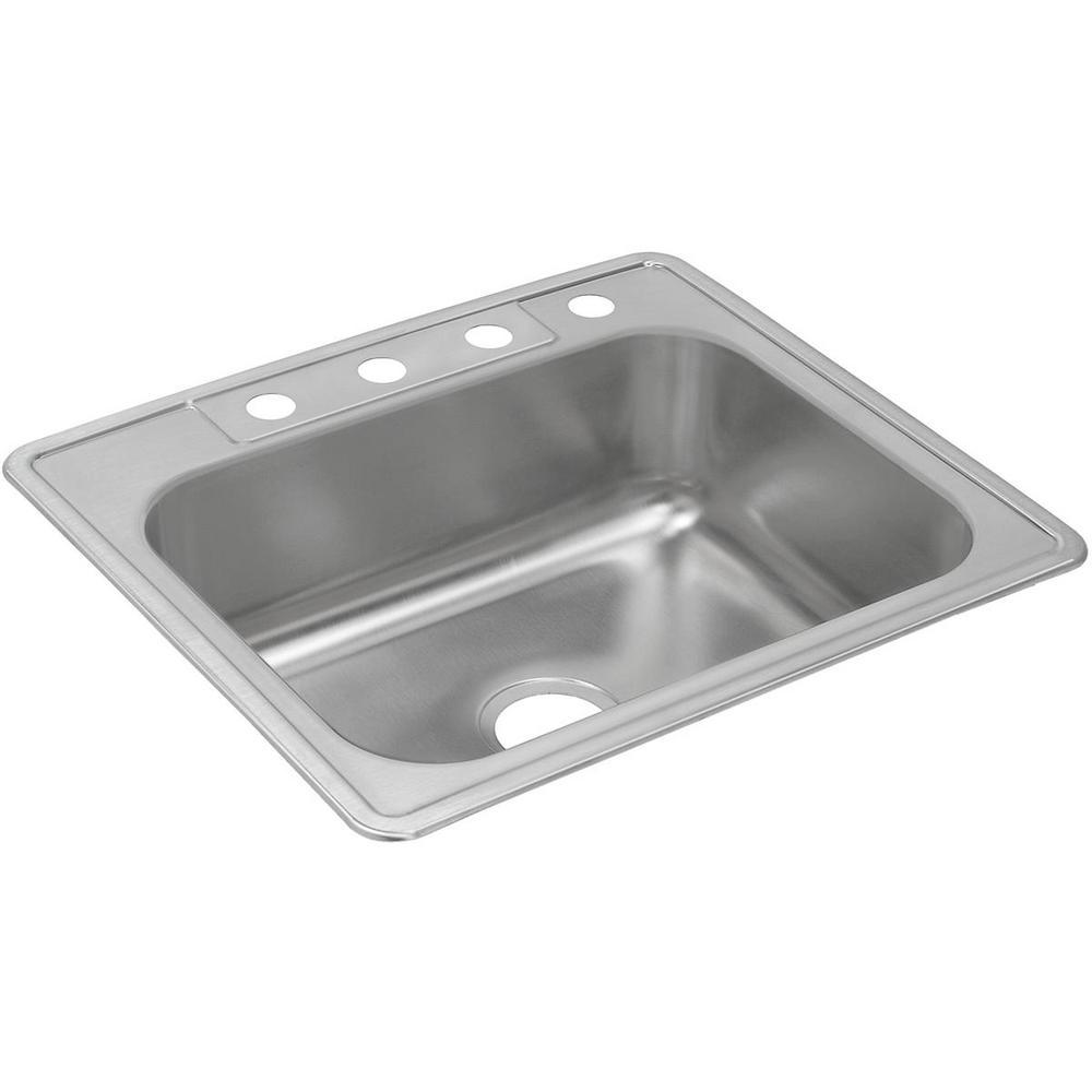 Dayton Drop-in Stainless Steel 25 in. 4-Hole Single Bowl Kitchen Sink