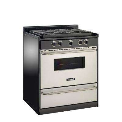 30 in. Signature 3.8 cu. ft. Propane Off-Grid Gas Range with Battery Ignition Sealed Burners in Stainless Steel