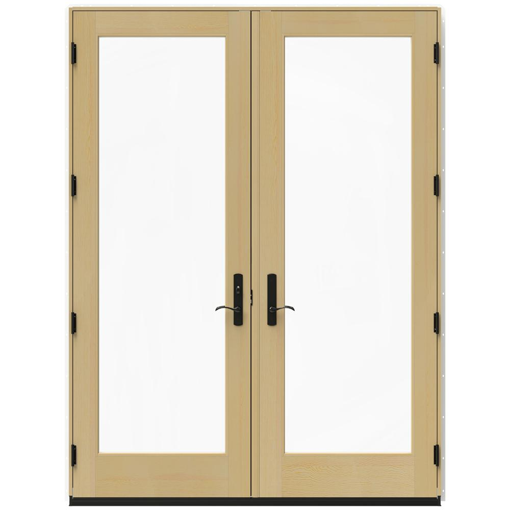 Jeld wen 72 in x 96 in w 4500 white clad wood right hand for White wooden french doors