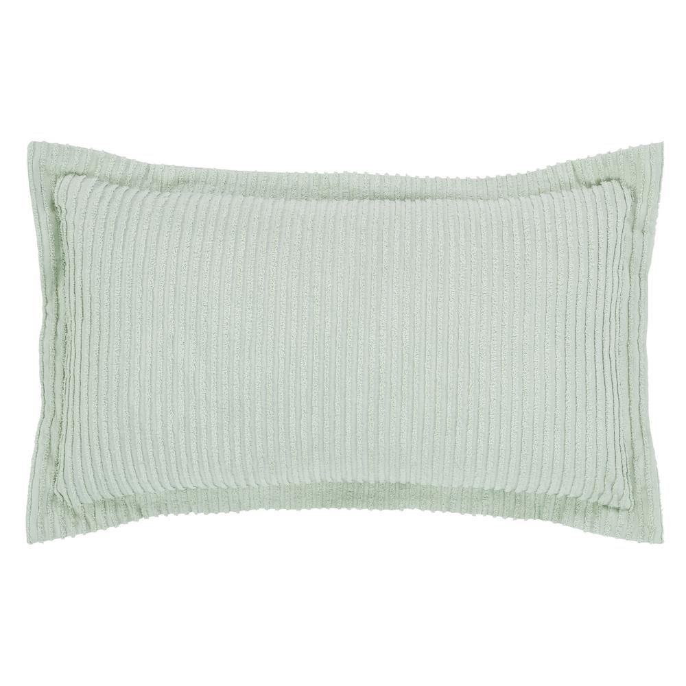 Julian Collection in Solid Stripes Design Sage King 100% Cotton Tufted Chenille Sham