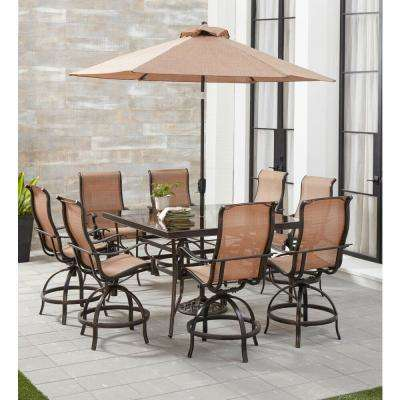 Monaco 9-Piece Aluminum Outdoor Dining Set with 8 Sling Swivel Chairs, 60 in. Glass-Top Table, Umbrella and Stand