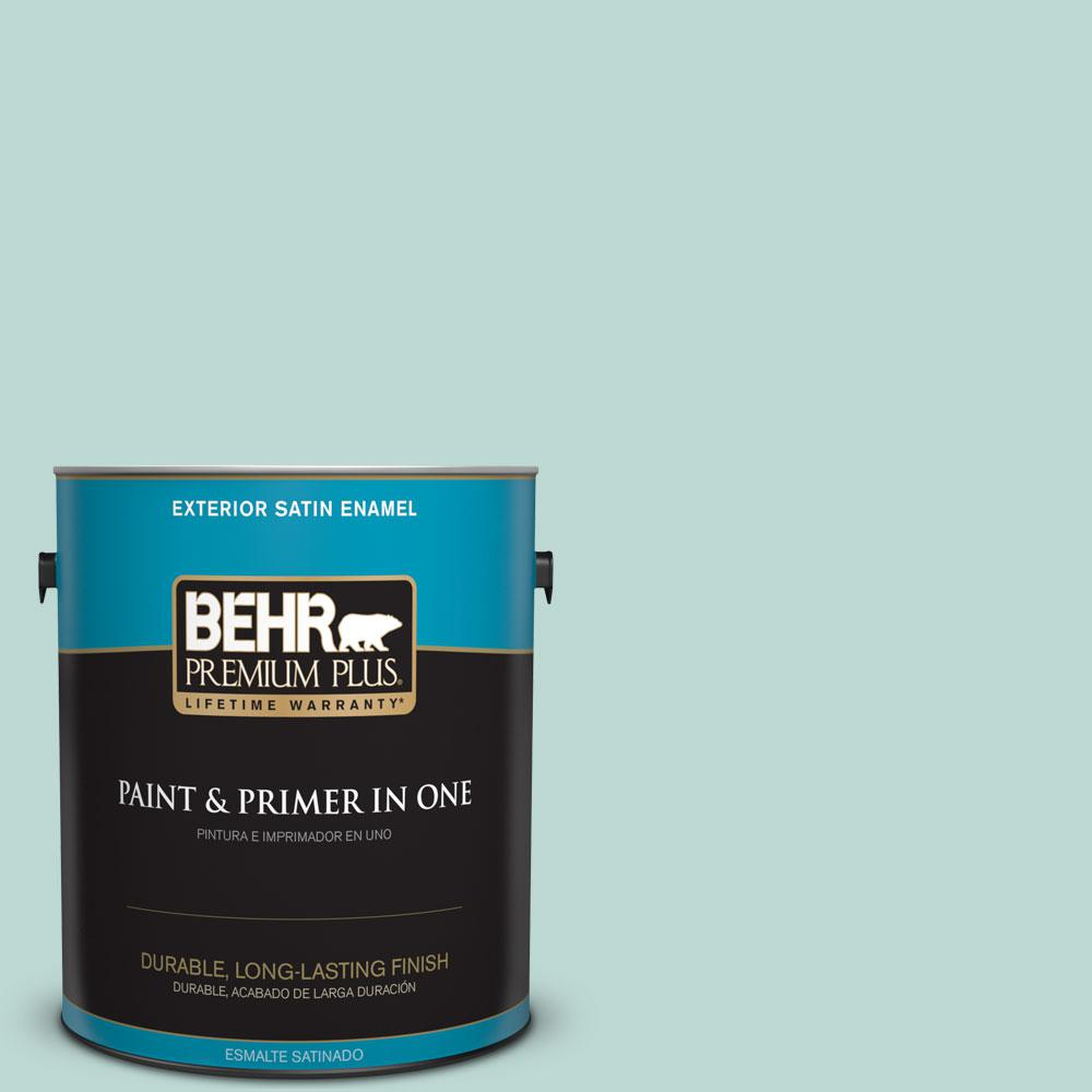 BEHR Premium Plus 1-gal. #M440-2 Serene Breeze Satin Enamel Exterior Paint