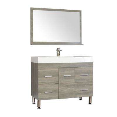 The Modern 39.25 in. W x 18.75 in. D Bath Vanity in Gray with Acrylic Vanity Top in White with White Basin and Mirror