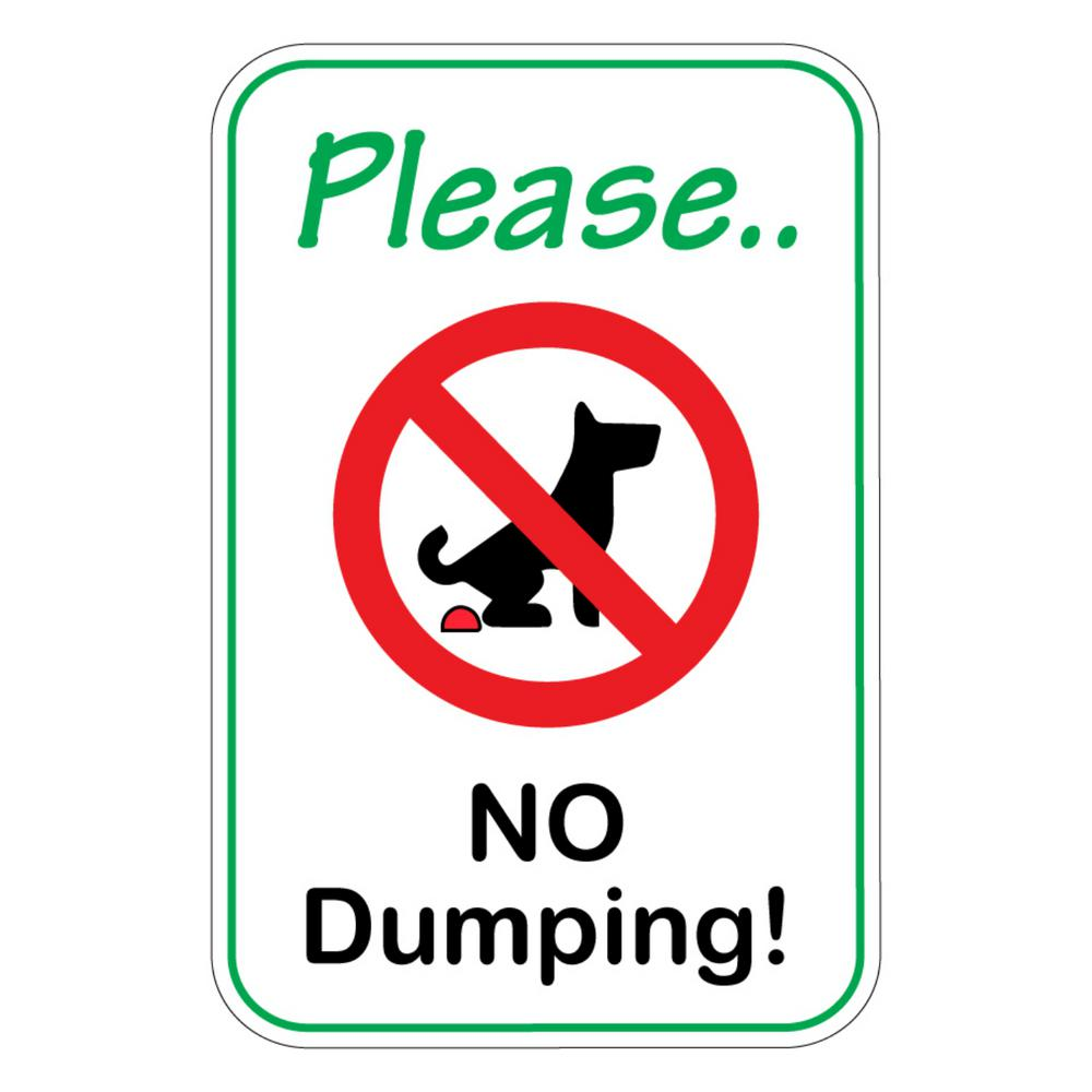 Promodor 12 in  x 8 in  Plastic No Pet Dog Pooping Dumping Defecating Sign