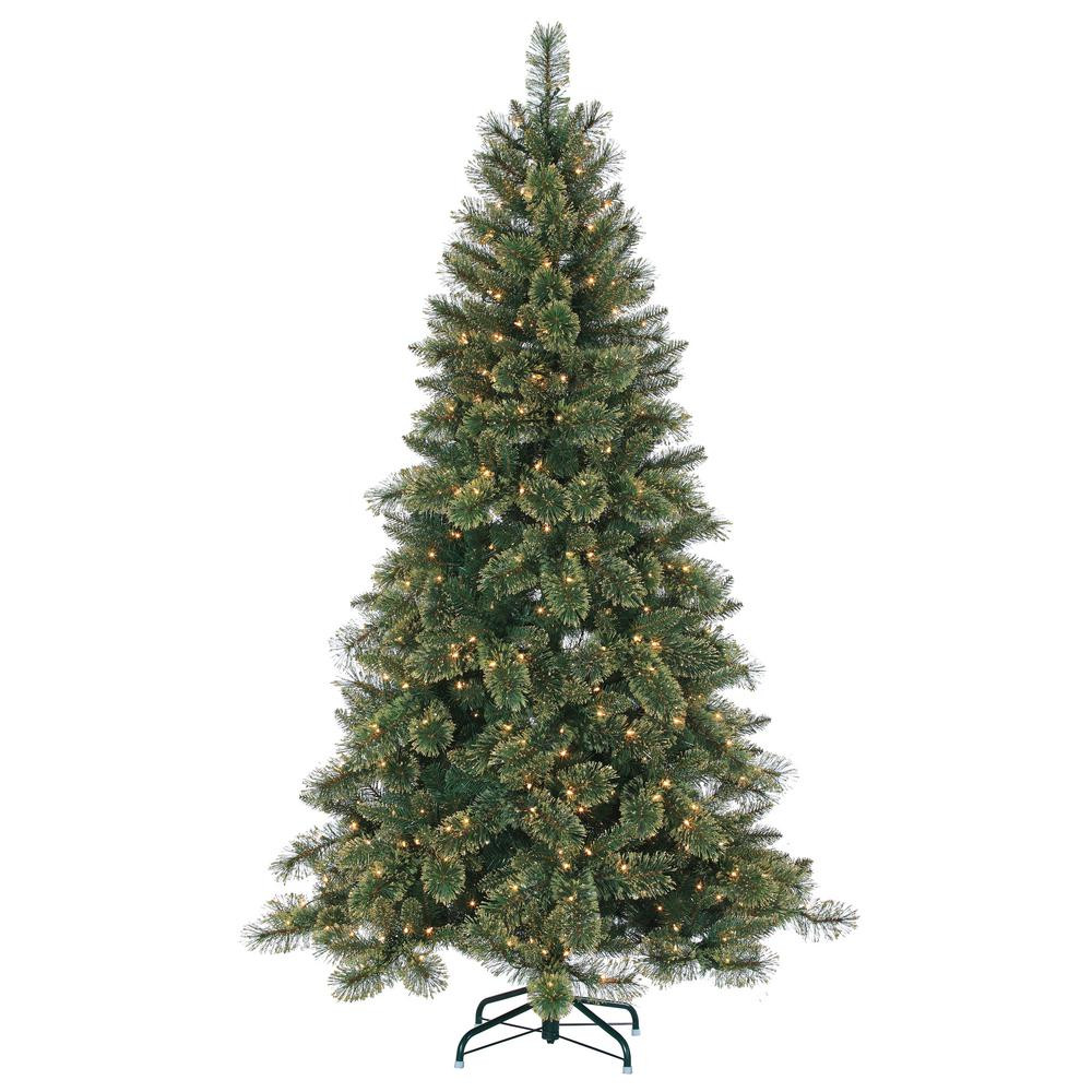 7.5 ft. Pre-Lit Mixed Needle Cashmere Pine Artificial Christmas Tree with
