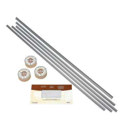 Large Profile Backsplash Accessory Kit with Tape in Argent Silver