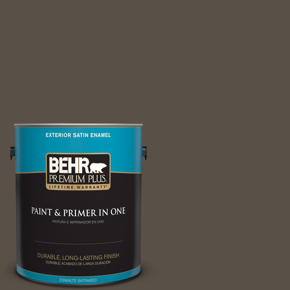 BEHR Premium Plus 1-gal. #N360-7 Potting Soil Satin Enamel Exterior Paint