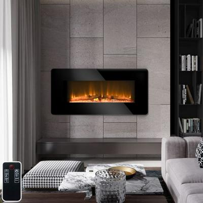 36 in. Wall-Mount Electric Fireplace in Black