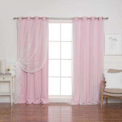108 in. L New Pink Marry Me Lace Overlay Blackout Curtain Panel  (2-Pack)