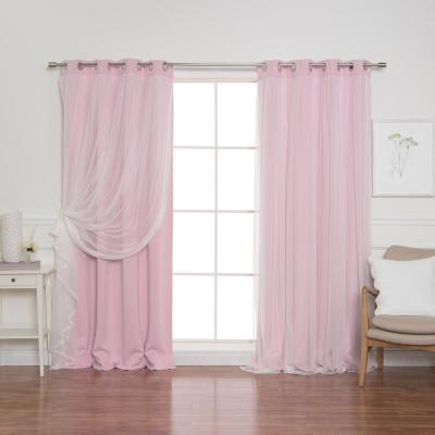 New Pink 84 in. L Marry Me Lace Overlay Blackout Curtain Panel  (2-Pack)