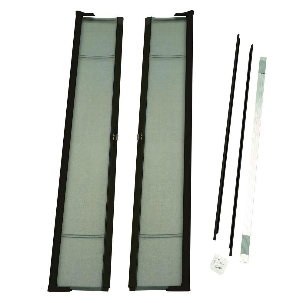 72 in. x 96 in. Brisa Brown Tall Double Screen Door Kit Retractable Screen Door