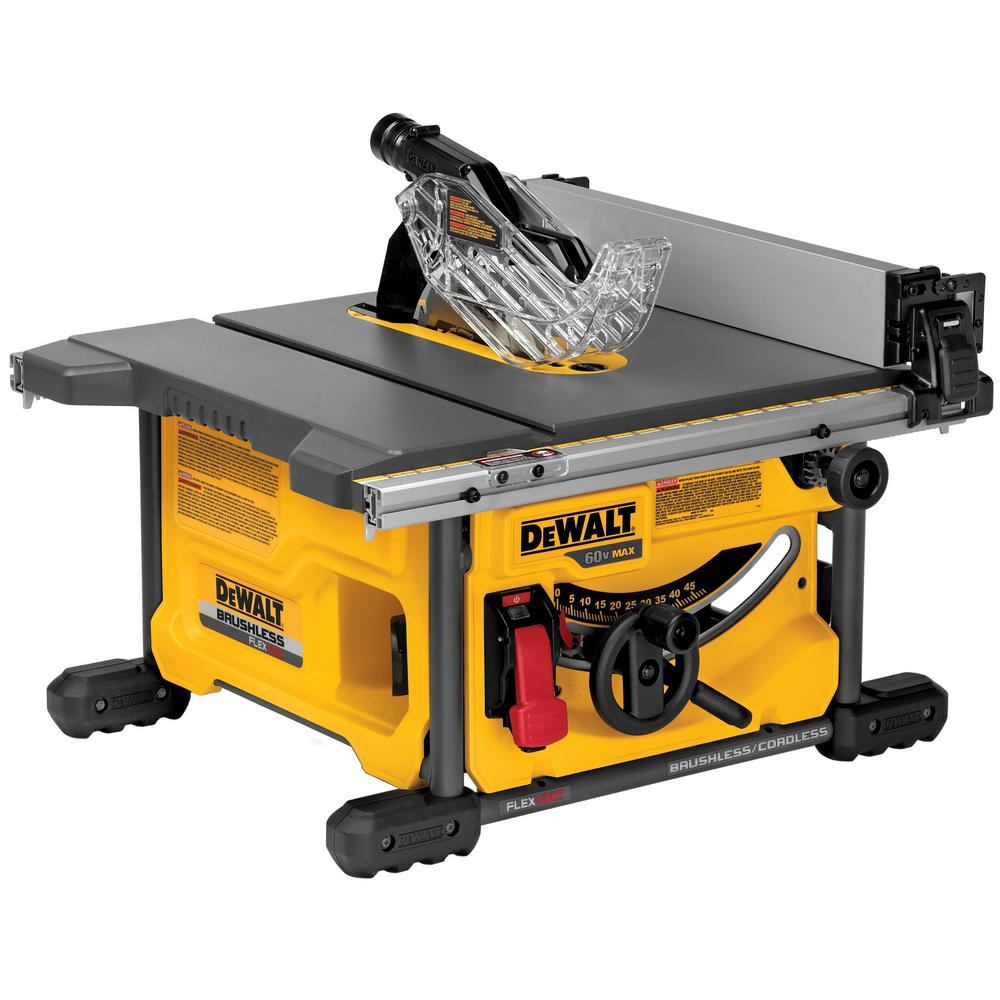 Dewalt 15 amp corded 10 in compact job site table saw with site pro flexvolt 60 volt max lithium ion cordless brushless 8 14 in greentooth