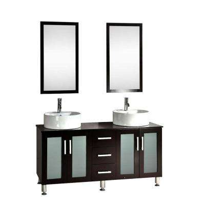 Metatron 60 in. Double Vanity in Espresso with Wood Vanity Top in Espresso and Mirror
