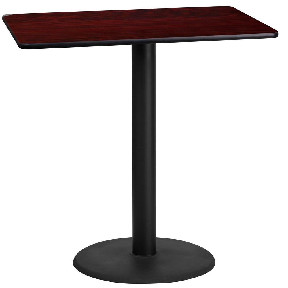 24 in. x 42 in. Rectangular Mahogany Laminate Table Top with 24 in. Round Bar Height Table Base, No Additional Features
