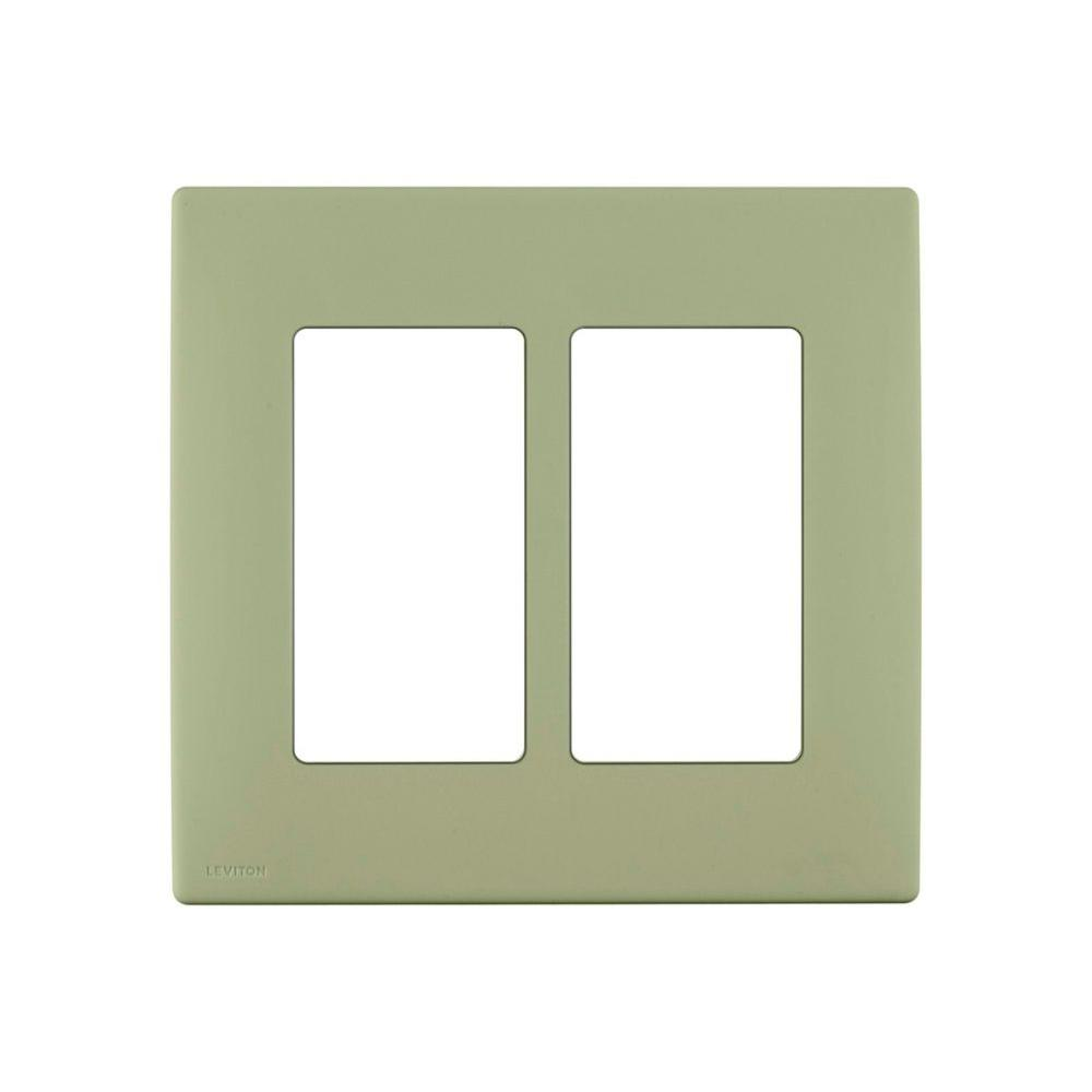 Renu 2-Gang Screwless Snap-On Wall Plate, Prairie Sage