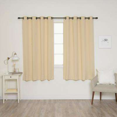 63 in. L Onyx Grommet Blackout Curtains in Beige (2-Pack)