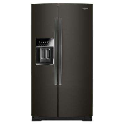 36 in. 22.6 cu. ft. Side by Side Refrigerator in Black Stainless Steel, Counter Depth