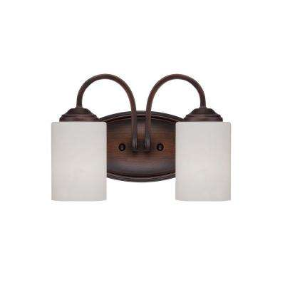 2-Light Rubbed Bronze Vanity Light with Etched White Glass