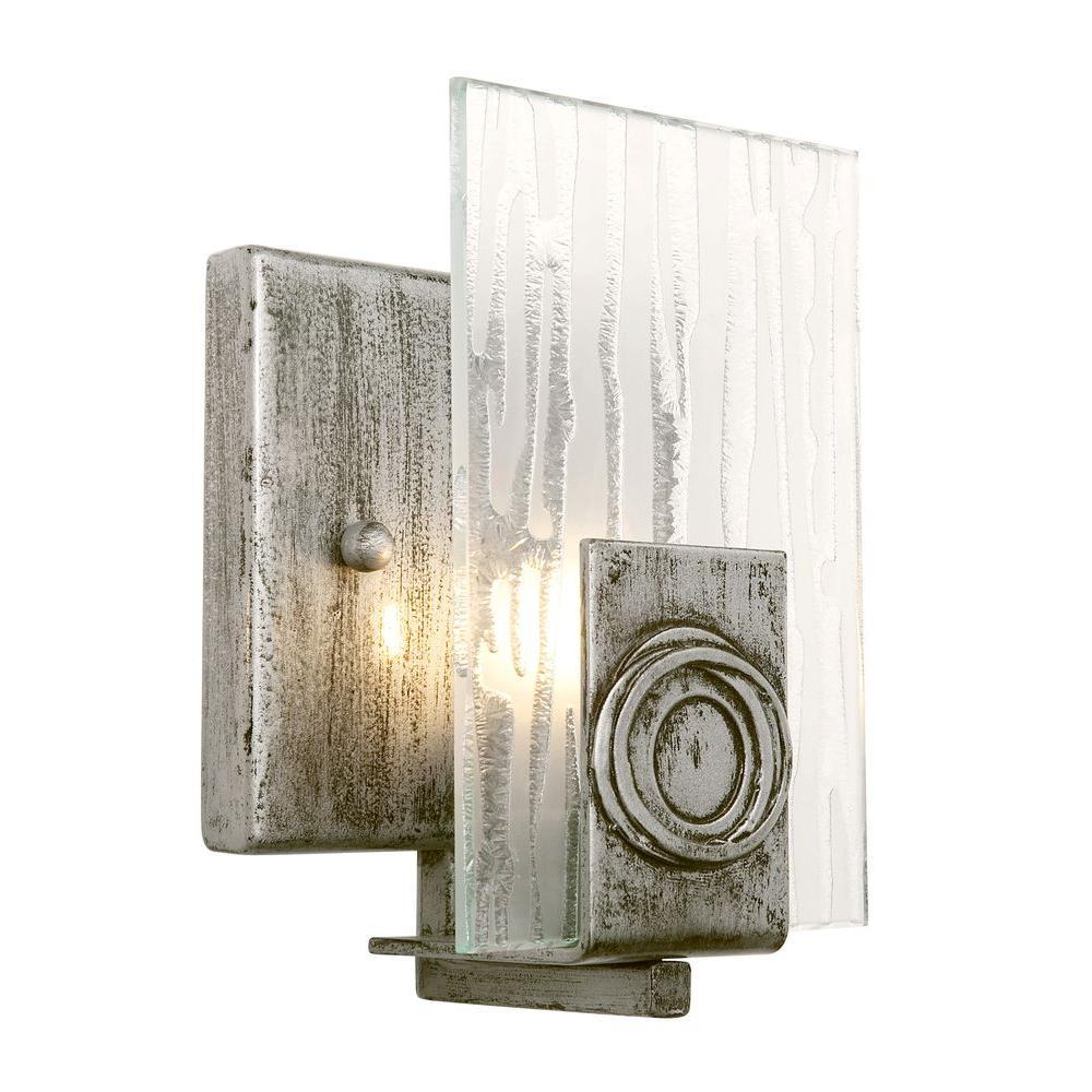 Varaluz Polar 1-Light Blackened Silver Vanity Light with Ice Crystal ...