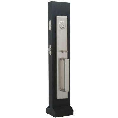 Elegance Single Cylinder Satin Nickel Woodward II Interconnect Door Handleset with Impresa Knob