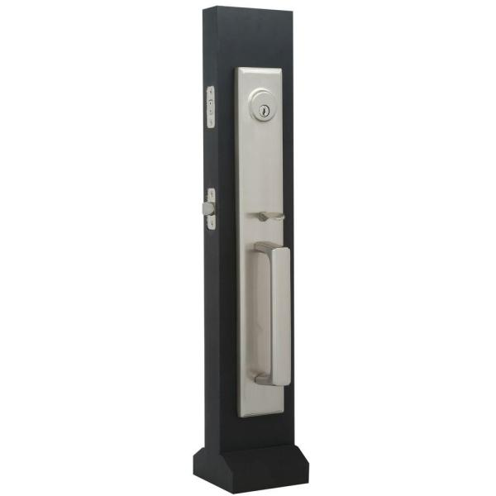 Elegance Single Cylinder Satin Nickel Woodward II Interconnect Door Handleset with Impresa Knob